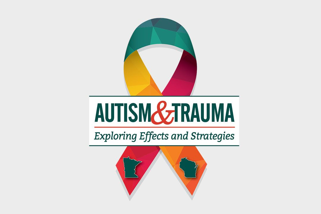 Autism and Trauma logo with spectrum ribbon