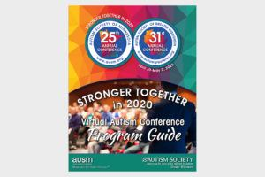 colorful 2020 state autism conference program cover image