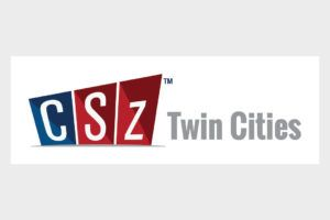 CSz Twin Cities Logo with blue and red blocks