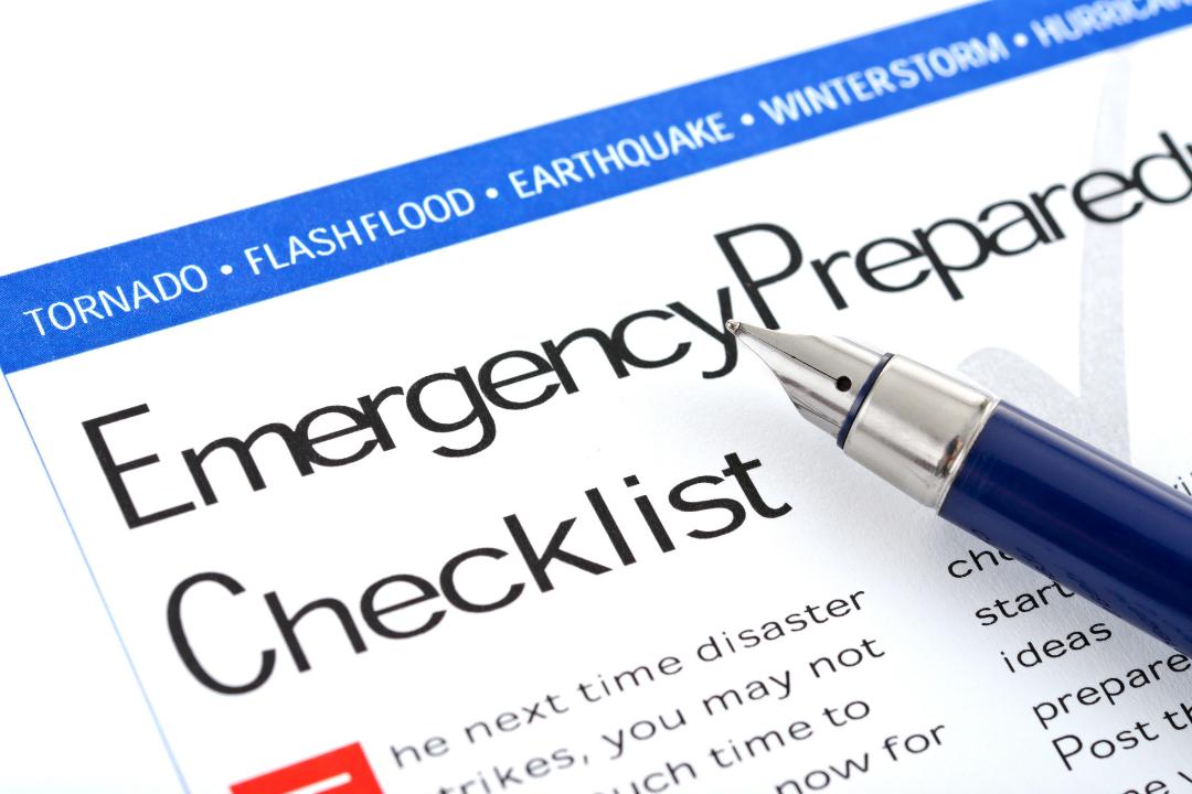 "A piece of paper labelled ""emergency preparedness checklist"""