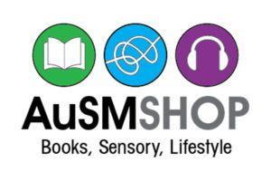 AuSM Shop: Books, Sensory, Lifestyle including a green circle with a book outline, a blue circle with a tangle outline, and a purple circle with a headphones outline